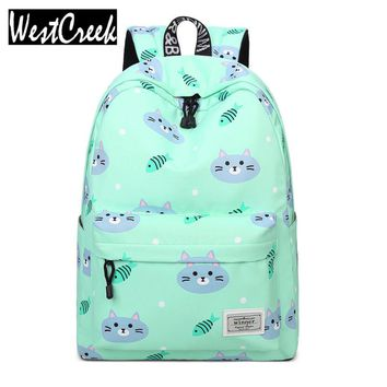 Casual Women Cute Cat and Fish Printing Backpack School Bag Fresh Girls Youth College Back Packs Travelling Bags