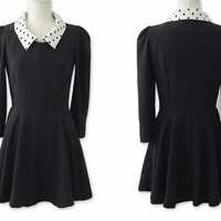 Elegant Simple Dot Neck Dress