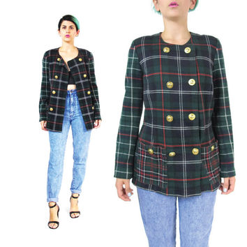 1980s Plaid Blazer Double Breasted Blazer Slouchy Boyfriend Blazer Gold Buttons Green Tartan Jacket Jersey Cotton Preppy Womens Blazer (M)