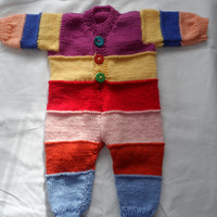 Hand Knitted Baby Onesuits - Handmade Wool  Baby Knit - New Born Baby - Knitted Baby All in one - Woolen Baby Top