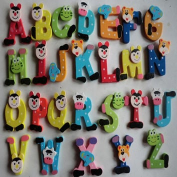 26pcs Wooden Cartoon Animal Educational Alphabet ABC-Z 26 Letters Magnet Wooden Children Toy Preschool Learning Tool Kid toys