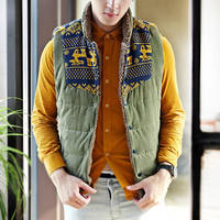 Fleece Lined Puffer Vest With Knit Detail