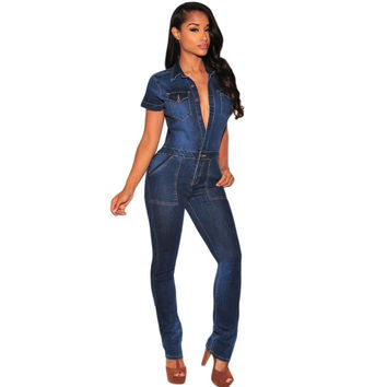 2016 Latest trend dark blue sexy denim jumpsuit women skinny pant long slim jeans femme denim overalls clubwear bodycon A64110