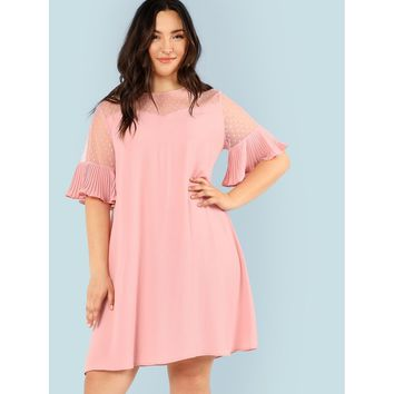 Plus Sheer Yoke Ruffle Cuff Dress