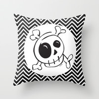Skull on Black and White Chevron Throw Pillow by Even In Death