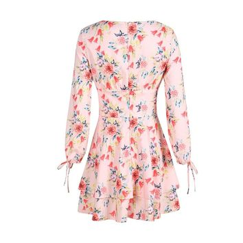 Fashion loose print flowers long lantern sleeve  woman's Casual a-line dress