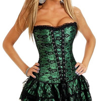 Green Lace Corset and Lace-Up Ruffle Skirt