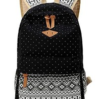 Casual Style Lightweight Canvas Polka Dot Boho Printed School Backpack Laptop Bag
