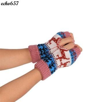 Echo657 Hot Sale Fashion Knitted Arm Fingerless Winter Gloves Unisex Soft Warm Mitten Oct 21