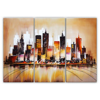 Vivid Colored Cityscape Canvas Wall Art Oil Painting