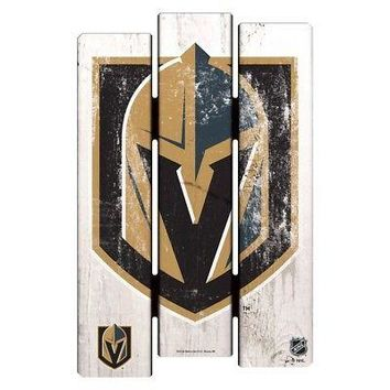 "VEGAS GOLDEN KNIGHTS FENCE WOOD SIGN 11""X17'' BRAND NEW  SHIPPING WINCRAFT"