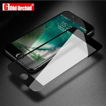 Gold Orchid Screen Protector For iPhone 6 6S X Tempered Glass Edge 0.26mm Protective Glass Film For iPhone 7 7 Plus 5 5S 8 Plus
