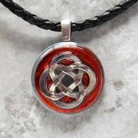 celtic knot necklace: orange - unique gift - celtic jewelry - celtic necklace - irish jewelry - mens necklace - mens jewelry - leather cord