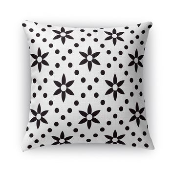 BLACK FLOWERS WITH WHITE DOTS Accent Pillow By Terri Ellis