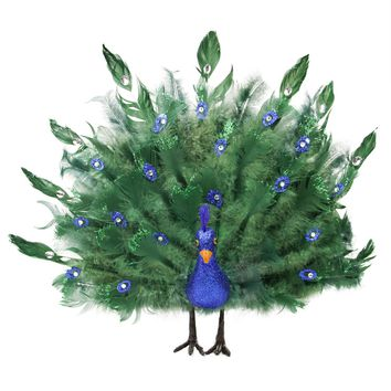 "17"" Colorful Green Regal Peacock Bird with Open Tail Feathers Christmas Decoration"