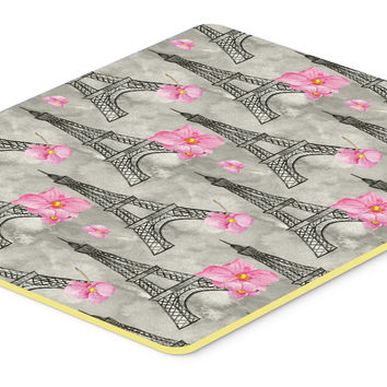 Watercolor Pink Flowers Eiffel Tower Kitchen or Bath Mat 20x30 BB7503CMT
