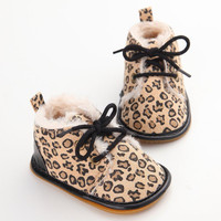 Toddler Winter Warm Leopard Shoes Baby Kids Shoes Casual Anti-Slip Shoes
