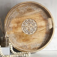 Courtland Carved Round Trays