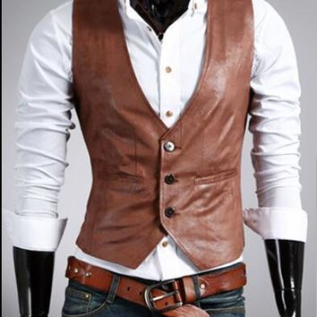 New Men Leather Dress Vest Autumn Spring Style Fashion size mlxl