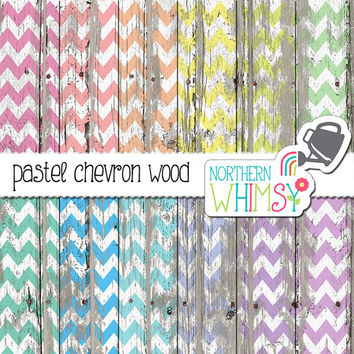 Chevron Wood Digital Paper - pastel chevron on peeling paint - distressed wood scrapbook paper - printable paper - commercial use OK