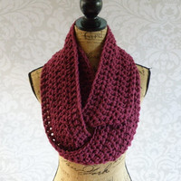 Ready To Ship Infinity Scarf Crochet Knit Raspberry Women's Accessories Eternity Fall Winter
