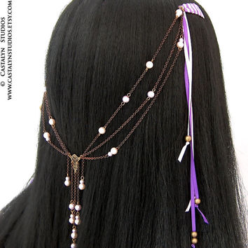 Jayla - Celtic Soft PInk Lavender Glass Pearls Satin Woven Clips Renaissance Headpiece
