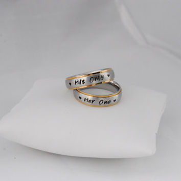 Her One, His Only Personalized Hand Stamped Stainless Steel Gold Tone Edge Brushed Comfort Fit 6mm wide Ring Set