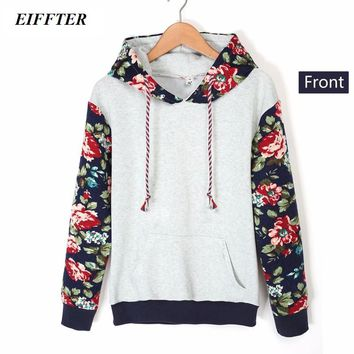 Autumn Winter Women Casual Thick Warm Floral Printed Hoodies