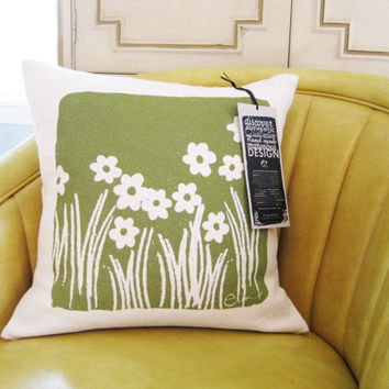 Olive Pillow Wild Flowers Grass 15 Inch on Natural by erinflett