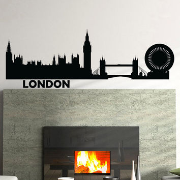 Wall Decals Vinyl Stickers London City Skyline Silhouette Home Decor for Living Room C017