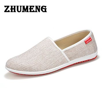 Men Loafers Casual Boat Shoes Fashion Cotton Fabric Slip on Driving Shoe Moccasins Hollow Out Men Flats Men Casual Shoes