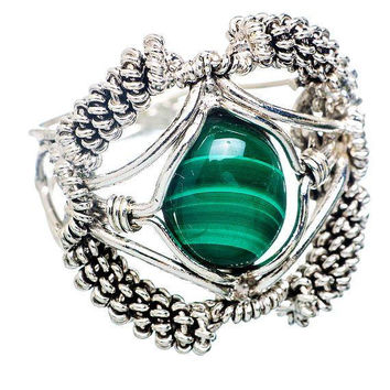 Malachite Stone Ring Signed 925 Sterling Silver Ladies Size 8.5 NOS Vintage