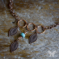 Leaves & Turquoise Copper Necklace