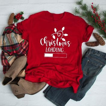Christmas Loading Forest red Shirt Funny women Unisex Merry Christmas t-shirt casual cotton aesthetic tumblr tee gift quote tops