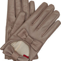 Valentino|Bow-detailed leather gloves|NET-A-PORTER.COM