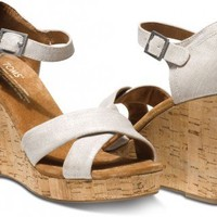 Metallic Linen Women's Strappy Wedges | TOMS.com