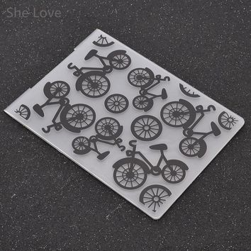 She Love Plastic Embossing Folder For Scrapbooking Bicycle Cycling Template Stencil Paper Card Decoration DIY Papercraft