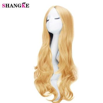 LMFOK5 SHANGKE 26'' Hair Long Wavy African American Synthetic Wigs For Black Women Natural Black Wigs Heat Resistant Fiber Hair