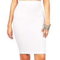 Pebbled Pencil Skirt