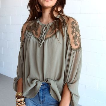 Sweet Secrets Sheer Lace Blouse - Olive