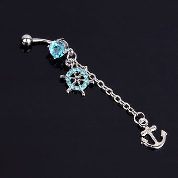 Rhinestone Navel Belly Bar Button Rings Anchor Dangle Barbell Body Piercing  D_L = 1713094276