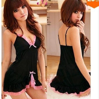 034,Sexy Black&Pink Lace Lingerie Sleepwear Dress+G-STRING Sexy one size Sleepwear,Underwear Dropshipping W1213 = 1932036228