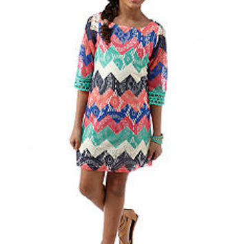 Sequin Hearts Chevron Crochet Dress Girls 7-16 - Belk.com