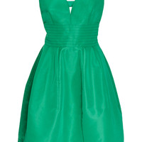 Green Silk Taffeta Dress with Open Back