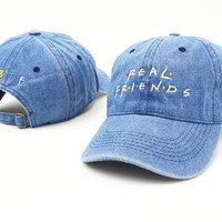 Brand Embroidery Real Friends Tv Show Jean Baseball Cap Hip Hop Women Men Adjustable Denim Dad Hat Bone Gorras Trucker Hat Friend Denim