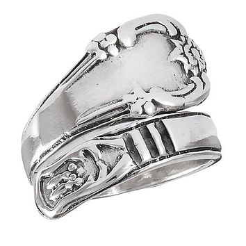 Sterling Silver Classic Victorian Spoon Ring