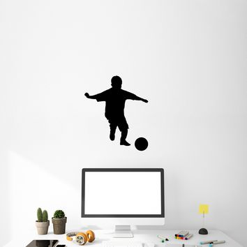 Vinyl Wall Decal Sport Football Player Soccer Boy Ball Game Sticker Mural (g010)