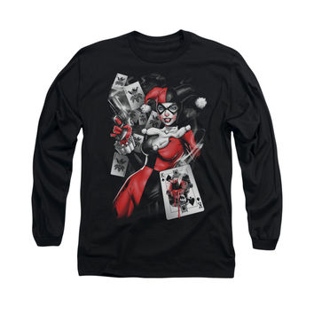 Harley Quinn Card Dealer Mens Long Sleeve T-Shirt