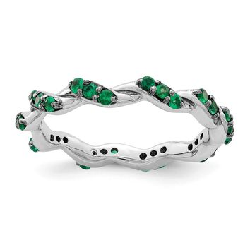 925 Sterling Silver Rhodium-plated Created Emerald Twisted Eternity Ring