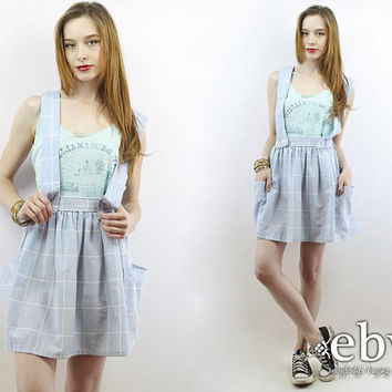 cdcd9c581e Vintage 90s Light Blue Plaid Babydoll Dress S M 90s Dress Plaid